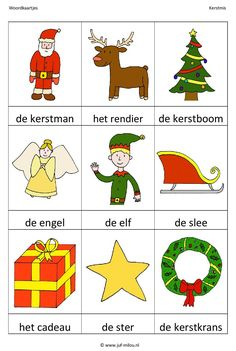 Woordkaartjes : Kerstmis (01) Christmas Is Coming, Kids Christmas, Learn Dutch, Advent, School Themes, Yule, Happy Holidays, December, Arts And Crafts