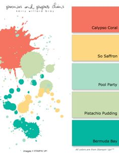 Stampin' Up! Color Combo - calypso coral, so saffron, pool party, Pistachio Pudding, Bermuda bay