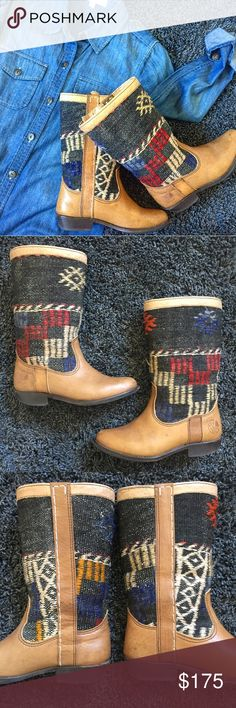 Kiboots Sturdy boots from Amsterdam' Kiboots (I think they go by Kindred Spirits also) are handmade using vintage Kilims (rugs) found in morocco and turkey. Every boot is handmade unique! No other like this as they all vary by design. Made of real premium leather. Size 38. Has been loved, heels show wear, but lots of life still left for a unique kind of stylish girl. Please ask Qs I'm here to help! kiboots Shoes Winter & Rain Boots