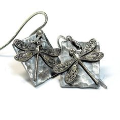 Dragonfly Earrings Sterling Silver  Enchanted by LavenderCottage, $36.00