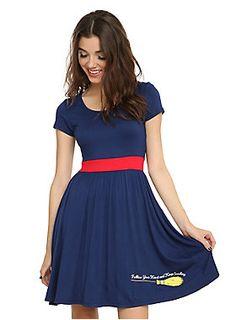 "<p>Follow your heart and keep smiling.</p>  <p>Become a full-fledged witch in this Kiki costume dress! All you need now is a big, red bow.</p>  <ul> <li>36"" long from shoulder</li> <li>95% rayon; 5% spandex</li> <li>Wash cold; dry low</li> <li>Imported</li> <li>Listed in junior sizes</li> </ul>"