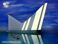 My Architectural Design of Building for Museum of bridges named ARCHIBARGE. Inspired by Ships, bridges, yachts