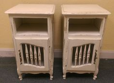 "I have two extra tall nightstands that will go perfect with that bed that is way off the floor! LOL What do you think?  The dimensions are 18"" L, 17"" W, 31"" H. SOLD!! for $250 https://www.pinterest.com/shabbychictexas/my-shabby-chic-nightstands/"