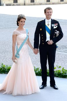 Princess Marie (wearing the Diamond Floral Tiara) and Prince Joachim of Denmark at Princess Madeleine's wedding. June 8, 2013