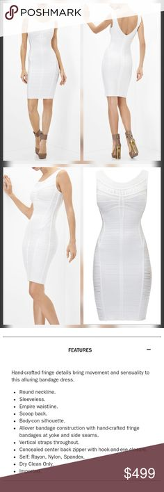 "Herve Leger White Alabaster Ysabel Bandage Dress New with tags. Perfect condition. No trades.  Approximate measurements without stretching Chest flat across 16.5"" Waist 13"" Hips 15.5"" Length 35.5"" Herve Leger Dresses"