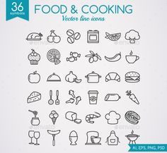 Food and Cooking Line Icons — Photoshop PSD #food #olives • Available here → https://graphicriver.net/item/food-and-cooking-line-icons/19189152?ref=pxcr