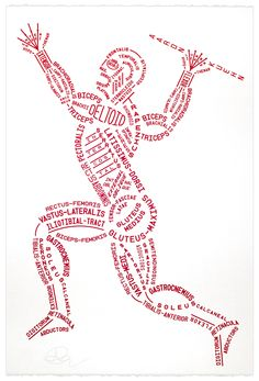 Drawing Human Anatomy Image of Muscular Typogram - Print - Myoglobin Red ink on warm-white deckle-edge cotton printmaking paper Open edition Screen-printed at Seizure Palace Numbered and signed 15 × Medical Students, Nursing Students, Nursing Schools, Medical School, Anatomy Bones, Body Anatomy, Medical Anatomy, Human Anatomy And Physiology, Sports Massage
