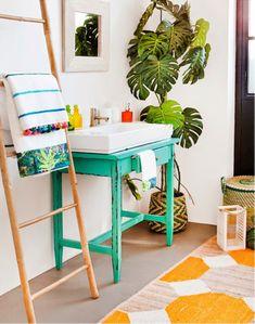 Kids bathroom green Colours of summer, by Zara Home Decor, Tropical Bathroom, Dream Decor, Tropical Bathroom Decor, Tropical Houses, Tropical Home Decor, House Styles, Popular Interior Design, Boho Bathroom
