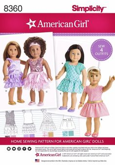American Girl doll clothes for 18 dolls includes four dress styles and a knit shrug. Dress can be made short sleeve or sleeveless with or without overlay. Add a bow or belt at the waist or a bow on shoulder strap. Ruffle edges on view C are left raw, but you can hem the edges on view D if you like. For girls matching outfits, see pattern S8349, this pattern (S8360) is for 18 inch dolls only. See pattern back picture for size measurements chart and details, click the zoom for easy reading…