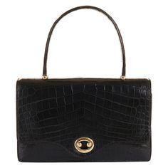 hermes black crocodile sac boutonniere bag   1960s   #vintage #1960s #fashion