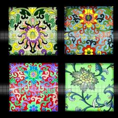 Digital Clipart 1 Inch Squares Antique Chinese by DigitalArtMart