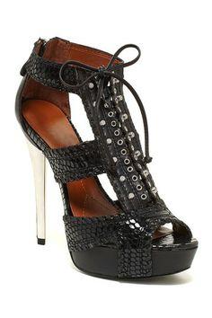 Black snakeskin lace up heels...hot