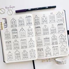 I honestly love drawing out all the Dutch canal houses but I have to say that I really needed a break from them after I finished my mood tracker! I'm really happy with the outcome and since it was so much work it really brings me joy when I fill them in! Bullet Journal Goals Page, Bullet Journal Month, Bullet Journal Notes, Bullet Journal Ideas Pages, Bullet Journal Spread, Bullet Journal Inspiration, Mood Tracker, House Drawing, Lettering Tutorial