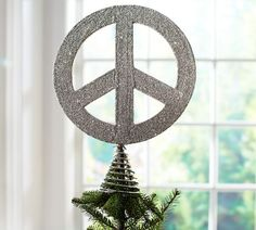 German Glitter Peace Sign Tree Topper | Pottery Barn @Ellen Page McGee!!  Do you already have one of these!?!?!??!?!?!?