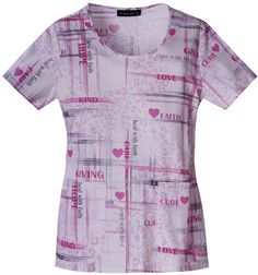 Baby Phat Mock Wrap Top, Faith and Love Breast Cancer Scrub Top