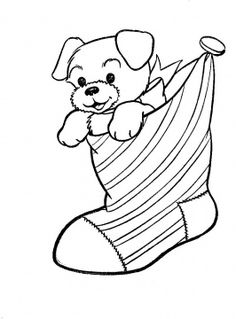 Christmas Coloring Puppy In The Stocking Free Pages For ChristmasFull Size Image