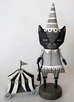 Black Cat Circus Doll Original Contemporary by cartbeforethehorse, $140.00