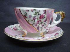 Vintage Cup and Saucer Luster Japan Teacup Set  Magenta Color Chintz Footed Gilt.