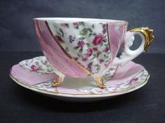 Vintage Cup and Saucer Luster Japan Teacup Set  Magenta Color Chintz Footed Gilt.