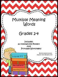 Language Arts: Multiple Meanings-Homonyms/Homophones