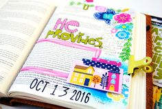 mixed media Bible journaling by Elaine Davis | anxiety | He provides - Matthew 6:25-34
