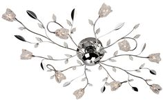 Firstlight 'Cindy' 10 Light Flush Ceiling Light, Chrome With Clear Glass - 8362CH None
