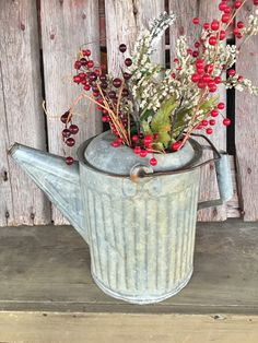 Vintage rustic galvanized watering can by 1350Northvintage on Etsy
