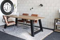 Industriële tafel schuine poot - Oud eiken - Art. 414
