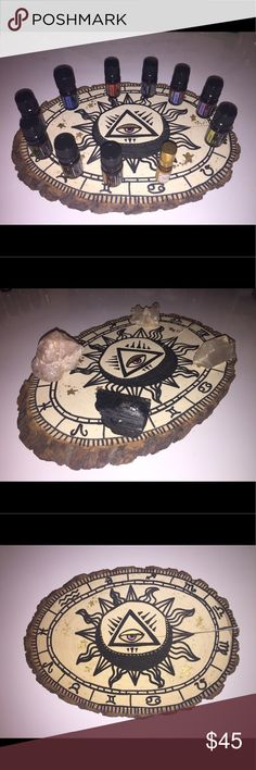 Astrological wood table topper Handcrafted in the 🇺🇸. Could be hung, placed or used as a cute jewelry holder/crystal holder. I use it to hold my essential oils and sometimes my crystals. Size is approx. 12 inches at longest part. Teva Accessories