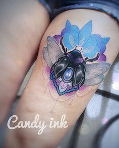 #neo #traditional #girly #tattoo #scarab #bug #mandala #blue #purple