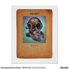 Steampunk Surrealism - Diver's Helmet Poster