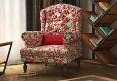 Danon Wingback Chair (Scarlet Blue) Wingback Chair, Armchair, Wing Chair, Scarlet, Accent Chairs, Wings, India, Modern, Blue