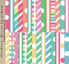 Commercial Use OK   12x12 Digital Papers   Digital Scrapbooking   Digital Patterned Paper   Cardstock   Sugarlicious MBD by MelanieBrittDesigns on Etsy