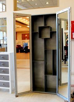 Armoire LOFT Salle de Bain / Chambre. Rangement 9 cases + 2 miroirs intégrés.