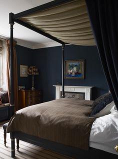 Dark blue master bedroom,  Regency four poster bed, Notting Hill house, Hackett Holland   Remodelista