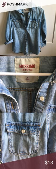 NWOT Mossimo denim button up NWOT light wash denim button up. Just not my style, never reached for it. Perfect condition. Sleeves can be rolled up or worn long. Very comfortable. Smoke free pet free home. Mossimo Supply Co Tops Button Down Shirts