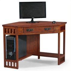 Bowery Hill Corner Computer Desk in Mission Oak (Brown)