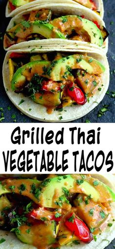 Grilled vegetable tacos (vegan and gluten free) are completely irresistible and satisfying when tossed in a light peanut sauce and topped with avocado slices. 238 calories and 6 Weight Watchers. #vegantacos #tacotuesday #vegetariantacos #tacorecipes #veganrecipes #plantbased #weightwatchers