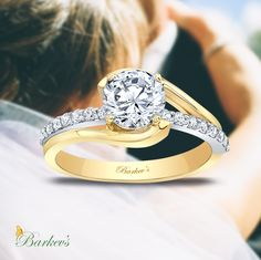 Barkev's Yellow & White Gold Engagement Ring - 8033LTY