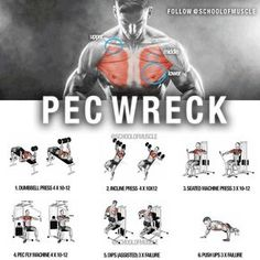 ✅ Peck Wreck ! Try this out on your next chest workout . . . . . ✅ Here Are 6 Small Key Friendly Tips When Hitting Those Pecs: - 1. Slight variations on the basic lifts will build a stronger and denser chest. 2. Benching with loads greater than 80% of your 1RM makes almost every muscle fiber contract as hard as possible. 3. Tweak your grip width and your bench angle to target the clavicular and sternocostal heads separately. This will help maximize overall chest development. 4. Using e...
