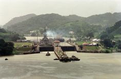 USS Iowa passing the Panama Canal