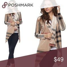 NEW!!! Velvet Taupe Plaid Cardigan S-L This is similar to the other plaid cardigan but this one is not as long in the front and its velvet!!! Loving it! Super cute- runs slightly smaller than the other one in my opinion but still nice and oversized S-L. Price firm, no offers. Sweaters Cardigans