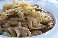 Chicken and Mushrooms over Pasta