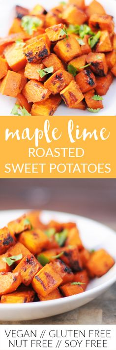 You Have Meals Poisoning More Normally Than You're Thinking That A Quick Maple Lime Dressing Elevates Roasted Sweet Potatoes To A New Level Simple Enough For A Weeknight Meal, But Elegant Enough For A Special Occasion Via Frieddandelions Vegan Appetizers, Vegan Dinner Recipes, Vegan Dinners, Whole Food Recipes, Vegetarian Recipes, Healthy Recipes, Vegan Blogs, Free Recipes, Savoury Recipes