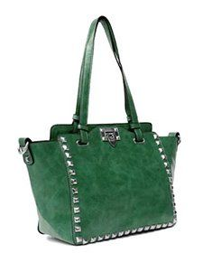 Amazon.com: Passion Faux Leather Medium Green Shoulder Handbag With Silver Studs: GREAT price at $35.95
