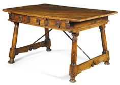 A Spanish walnut table, century Colonial Furniture, Antique Furniture, Spanish Colonial, Spanish Style, Art Nouveau, Muebles Art Deco, Cheap Coffee, Walnut Table, Coffee Staining