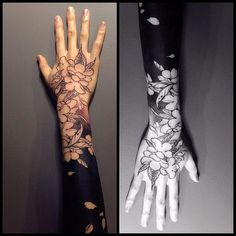Black inked flower tattoo - See this Instagram photo by @guanxiaopeng
