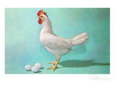 Chicken and Eggs, Retro Premium Poster