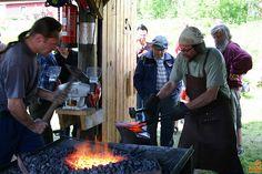 Blacksmiths at their work Blacksmithing, Finland, Country, Outdoor Decor, Image, Blacksmith Shop, Rural Area, Country Music, Blacksmith Forge