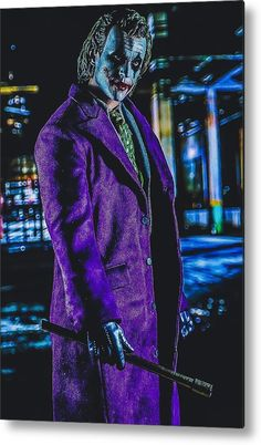 Agent Of Chaos Joker Dark Knight Metal Print by Jeremy Guerin. All metal prints are professionally printed, packaged, and shipped within 3 - 4 business days and delivered ready-to-hang on your wall. Choose from multiple sizes and mounting options. Dark Knights Metal, Joker Dark Knight, Heath Ledger Joker, Joker Art, Thing 1, Got Print, Tag Art, Beautiful Artwork, Prints For Sale